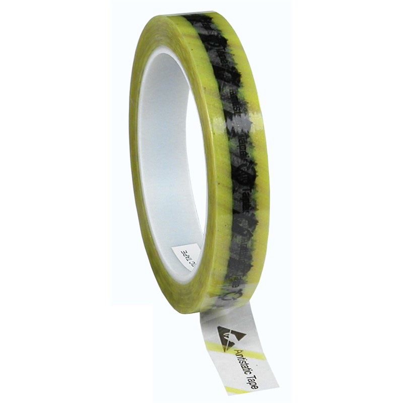 46914-WESCORP ESD TAPE, CLEAR YELLOW STRIPE, 3/4INx72YD, 3 IN CORE