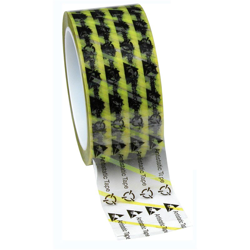 46916-WESCORP ESD TAPE, CLEAR YELLOW STRIPE, 2INx72YD, 3 IN CORE