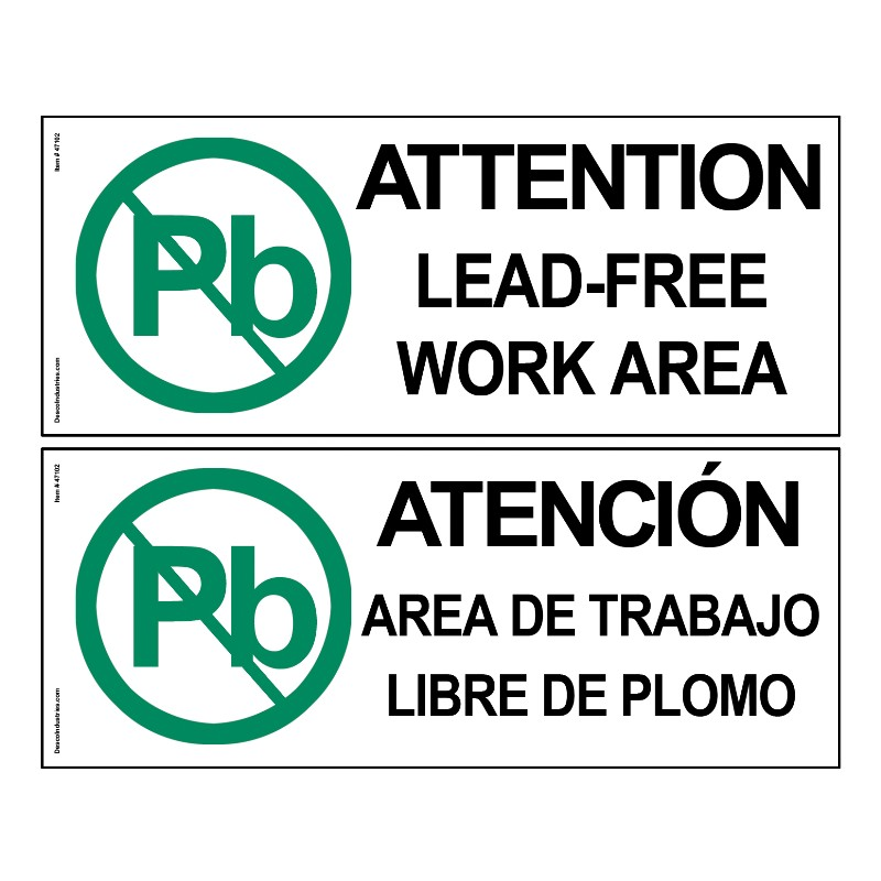 47104-SIGN, ATTENTION, LEAD-FREE ZONE, 4 IN x 10 IN