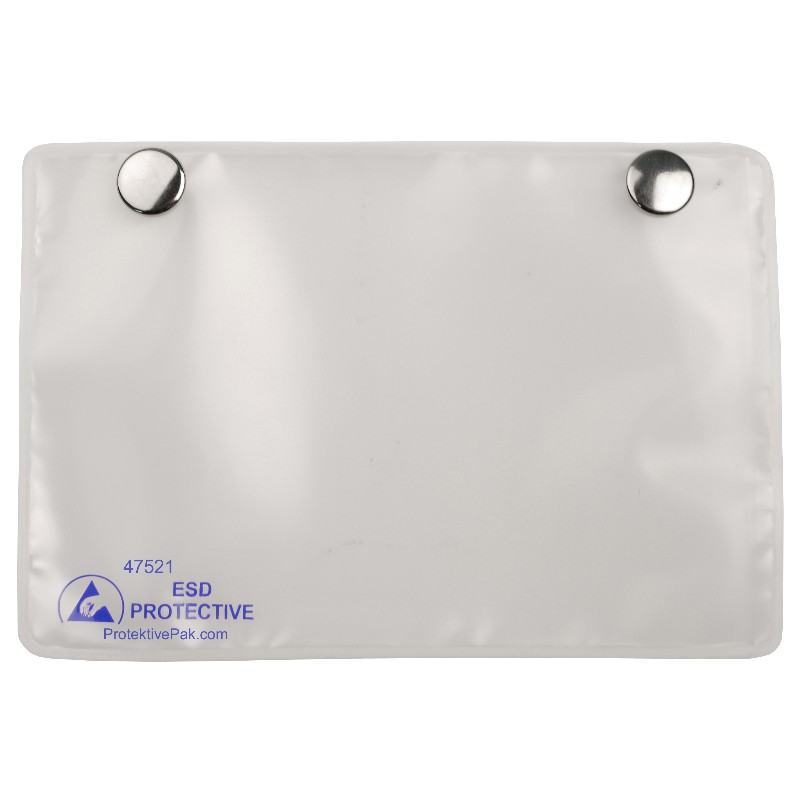 47521-CARD HOLDER, DISSIPATIVE, WITH SNAPS, 3''x5'' INSERT, 25PK